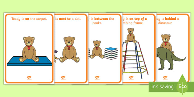 Teddy Bear Positional Language Display Posters