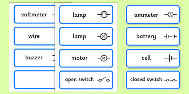 Electric Circuit Symbol Word Cards - Electric, circuit, word