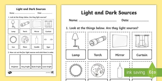 light and dark sources cut and stick activity sheet worksheet. Black Bedroom Furniture Sets. Home Design Ideas