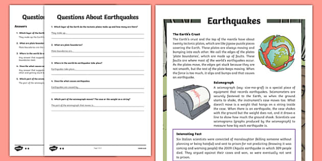 Earthquakes KS2 Differentiated Reading Prehension Activity