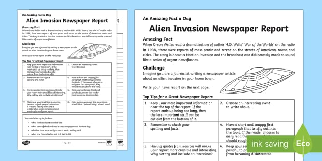 Alien Invasion Newspaper Report Writing Template