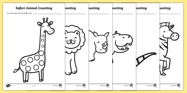 safari animal patterns counting worksheet activity sheets. Black Bedroom Furniture Sets. Home Design Ideas
