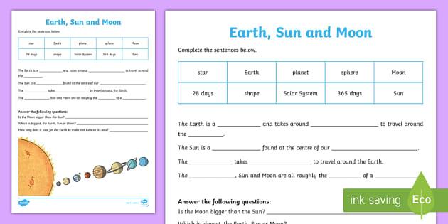 earth sun and moon worksheet worksheet pack. Black Bedroom Furniture Sets. Home Design Ideas