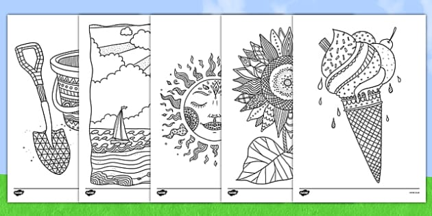 Summer Mindfulness Colouring Sheets