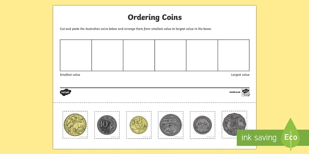 australian coin ordering cut and paste worksheet activity. Black Bedroom Furniture Sets. Home Design Ideas
