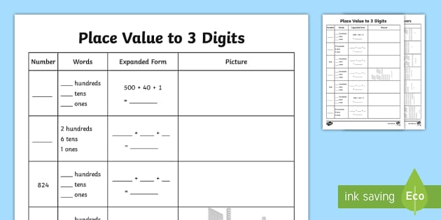 place value to 3 digits worksheet activity sheet place value. Black Bedroom Furniture Sets. Home Design Ideas
