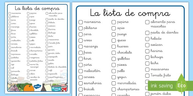 La lista de compra juego spanish comer sano comida sana for Lista de comida en frances
