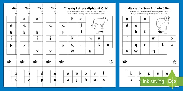 Farm Missing Letters Alphabet Grid Worksheet (teacher Made)