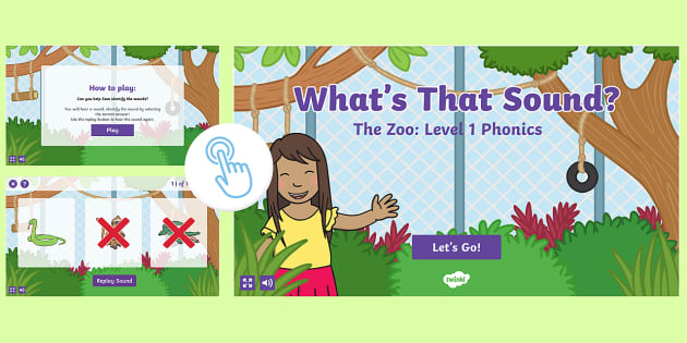 Level 1 Phonics The Zoo Environmental Sounds Game