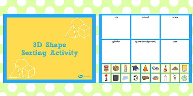 3d shape sorting activity notebook activity 3d shape sort. Black Bedroom Furniture Sets. Home Design Ideas