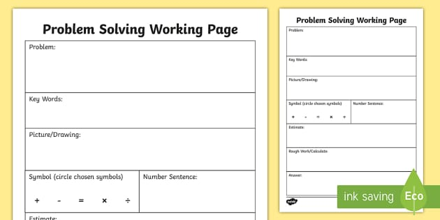 Problem Solving Working Worksheet / Worksheet - Maths, Word, Problems