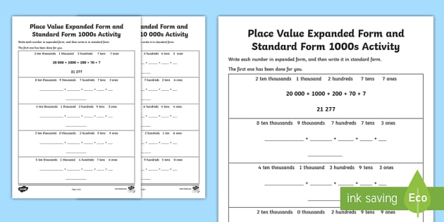 Place Value Expanded Form And Standard Form 10 000s Worksheet