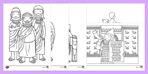 Daniel And The Lions Den Story Colouring Sheets Daniel