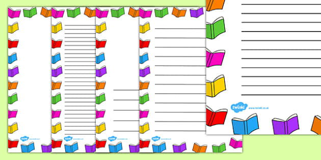 Books Page Borders Writing Literacy Border Book Frames