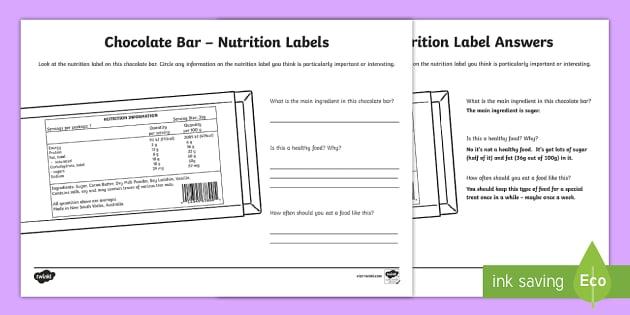 Chocolate Bar Nutrition Label Worksheet Worksheet