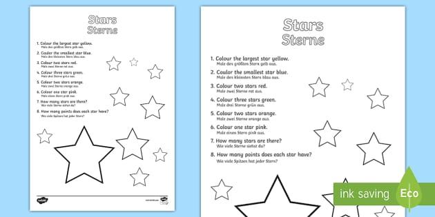 star colouring comprehension worksheet activity sheet english german. Black Bedroom Furniture Sets. Home Design Ideas