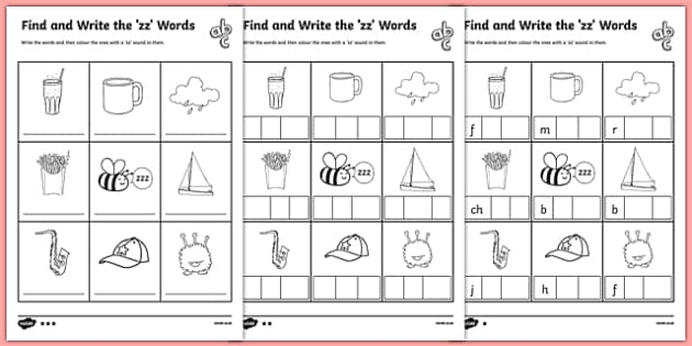 Find and Write the zz Words Differentiated Worksheet / Activity