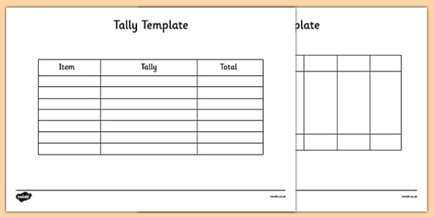 Tally Template Tally Template Tally Chart Graph Maths