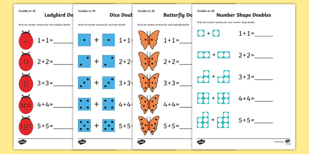 doubles to 20 worksheets maths resource twinkl. Black Bedroom Furniture Sets. Home Design Ideas