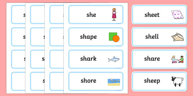 Premise Indicator Words: 'sh' Sound Word Cards