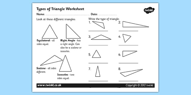 Types Of Triangles Worksheet Activity Sheet Triangles