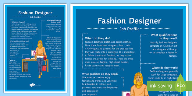 Fashion Designer Job Profile A4 Display Poster