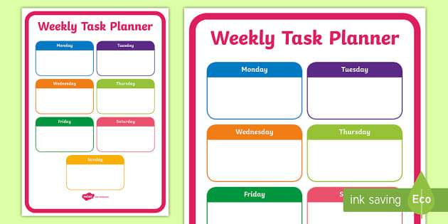 Weekly Task Planning Sheet Weekly Task Planning Sheet