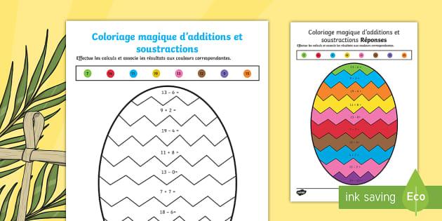Coloriage Magique D Additions Et Soustractions Sur Le Theme De Paques