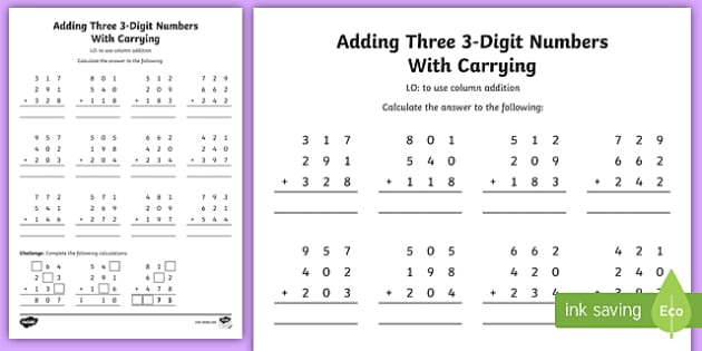Adding Three 3 Digit Numbers In A Column Worksheet Year 3 Digit column addition worksheets ks2