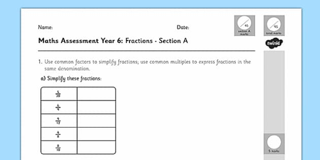 Year 6 Maths Assessment: Fractions Term 1 - maths, assessment
