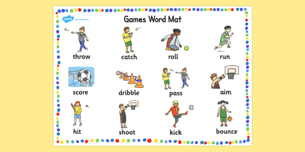 pe games word mat eal easl physical education word