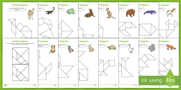 tangram animals templates  activity booklet teacher made