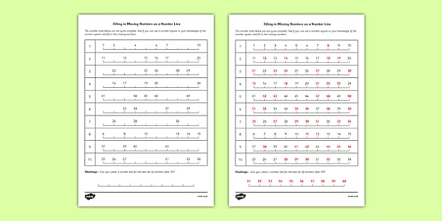 number line to 50 pdf