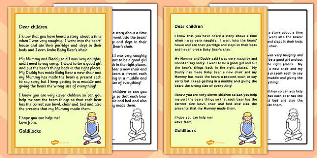 goldilocks apology letter goldilocks apology letter apology