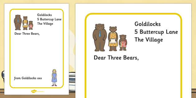 Goldilocks to the three bears letter writing frames spiritdancerdesigns Image collections