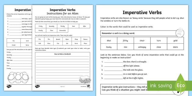 Imperative Verbs Bossy Words Worksheet Primary Resources