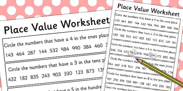 Place Value Worksheet  Digits  Place Value Worksheet