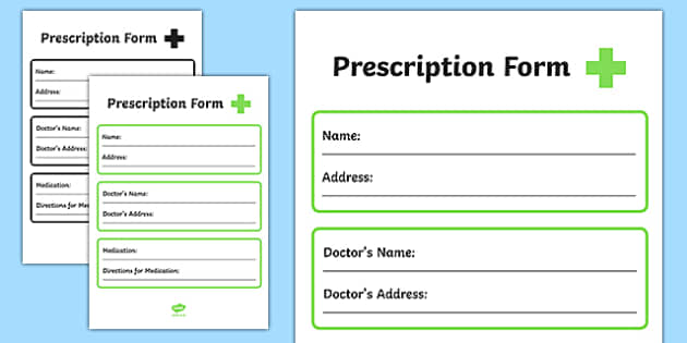 Pharmacy Role Play Prescription Form  Doctors Roleplay Props