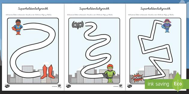 Superhelden Arbeitsblatt Erstes Schreiben: Linien nachspuren