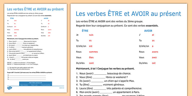 Etre And Avoir Worksheet Present Tense Activity