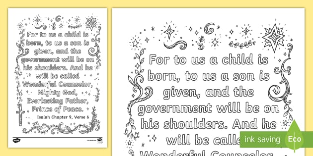 Isaiah 9 6 Mindfulness Coloring Page Bible Verse Craft Memory