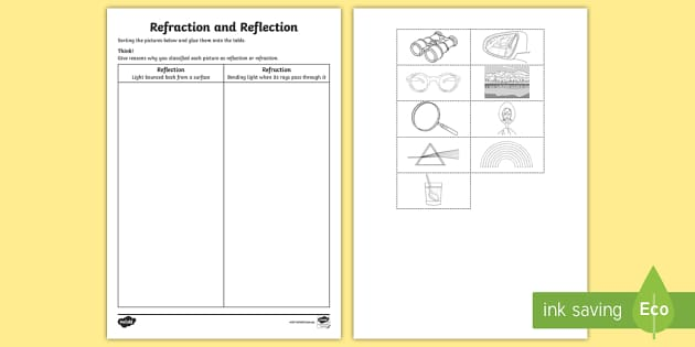 Refraction and Reflection Activity Sheet worksheet ACSSU080 – Reflection Refraction Worksheet