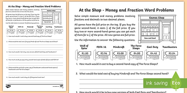 At The Shop - Money And Fraction Word Problems
