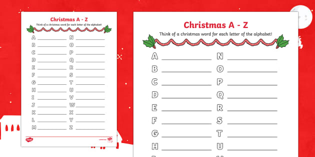 christmas a to z worksheet activity sheet