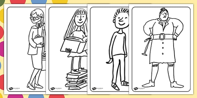 colouring pages to support teaching on matilda matilda