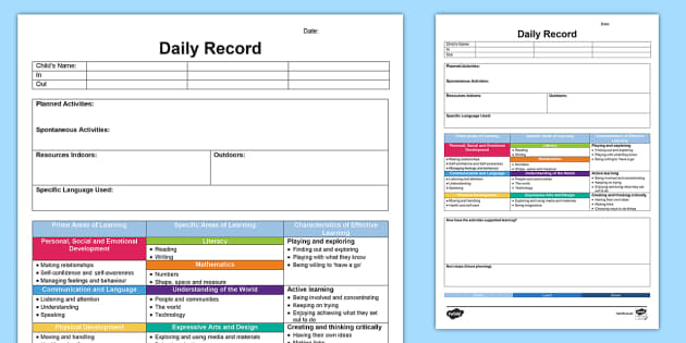 Eyfs daily diary retrospective planning template planning pronofoot35fo Image collections