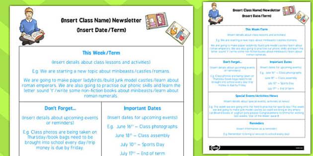 Ks2 Editable Newsletter Template Teacher Made