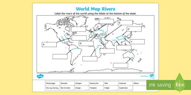 World Map Rivers Labelling Activity World Map Rivers Labelling