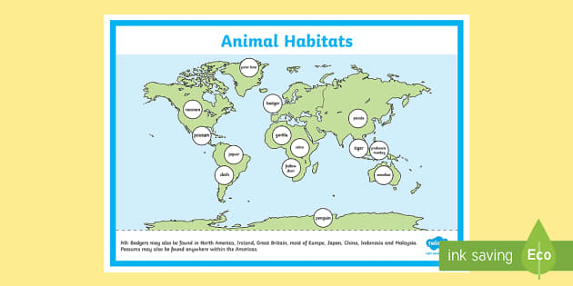World map animal habitat display poster display poster world gumiabroncs Image collections