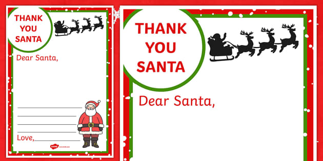 Thank You Letter to Santa Writing Frame santa letter thank